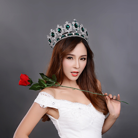 big European royal crown golden rhinestone imitation ruby tiara super large quinceanera crown wedding hair accessories crown (3)