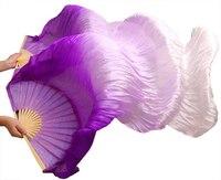 High Quality Handmade Belly Dance Silk Fan Veils Purple White Gradient Colors