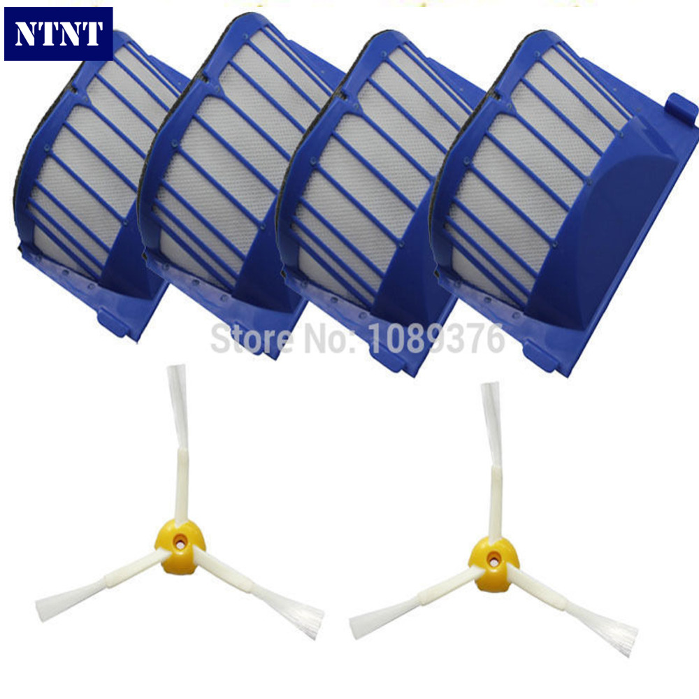 NTNT Free Post New 4 AeroVac Filter + 2 Brush 3 armed for iRobot Roomba 500 600 Series 550 650 mini itx motherboard d2550 6 com atm industrial motherboards pos machine industrial mini itx h25 2d6