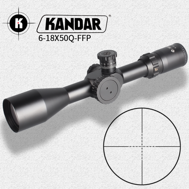 KANDAR 6-18X50 FFP Tactical Riflescope Airsoftsports Tactical  Rifle Scope Sniper Optic Sight Hunting Scopes Rifle Air Red Dot