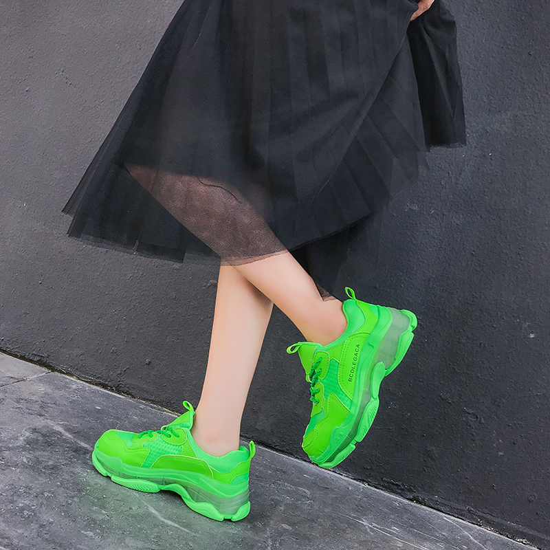 Women 39 s transparent soles yellow shoes ladies dad transparent soles white sneakers fashion neon green sneakers y954 in Women 39 s Vulcanize Shoes from Shoes