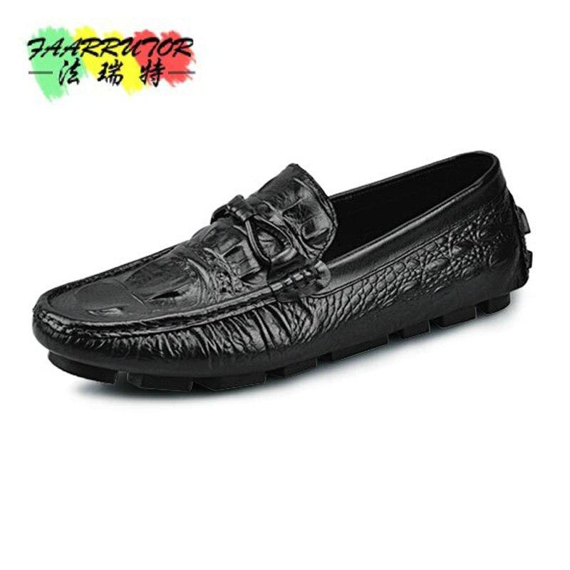 Hommes de Casual Crocodile Relief Véritable Bateau En Cuir Chaussures Slip-sur Penny Mocassins Mocassin Mode Plat de Chaussures Hommes mocassins Chaussures Nouveau