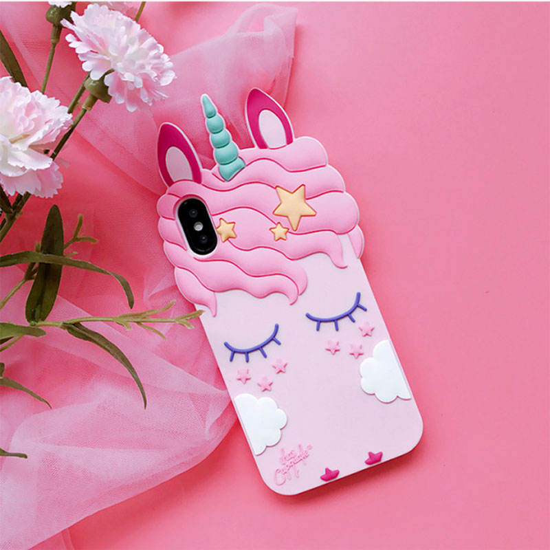 3D Cartoon sexy Eyelash Pink unicorn horse phone case For iPhone X 6 6s plus 7 8 plus 5s se 5s fashion soft silicon Back cover in Fitted Cases from Cellphones Telecommunications