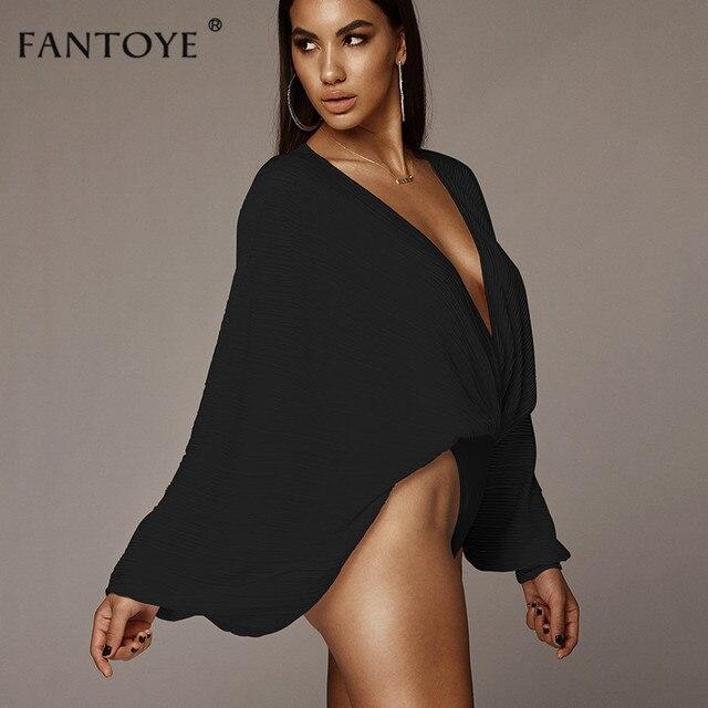 Fantoye Sexy Deep V-Neck Bodysuit Women Loose Chiffon Elastic Fit Rompers Womens Home Wear Casual Basic Jumpsuit Bodysuits Tops 3