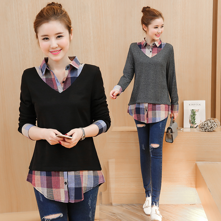 Womens Tops spring Blouses Fake Two Pieces Plaid Patchwork Long Sleeve Lady Shirt Plus Size Women 39 s Tunic Top Clothes 601i3 in Blouses amp Shirts from Women 39 s Clothing