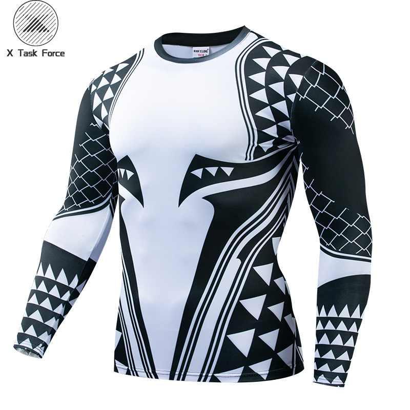 Aquaman Compressie Shirt Man 3D Bedrukte T shirts Mannen 2019 Nieuwste Comics Cosplay Kostuum Lange Mouwen Tops Voor Mannelijke Fitness doek
