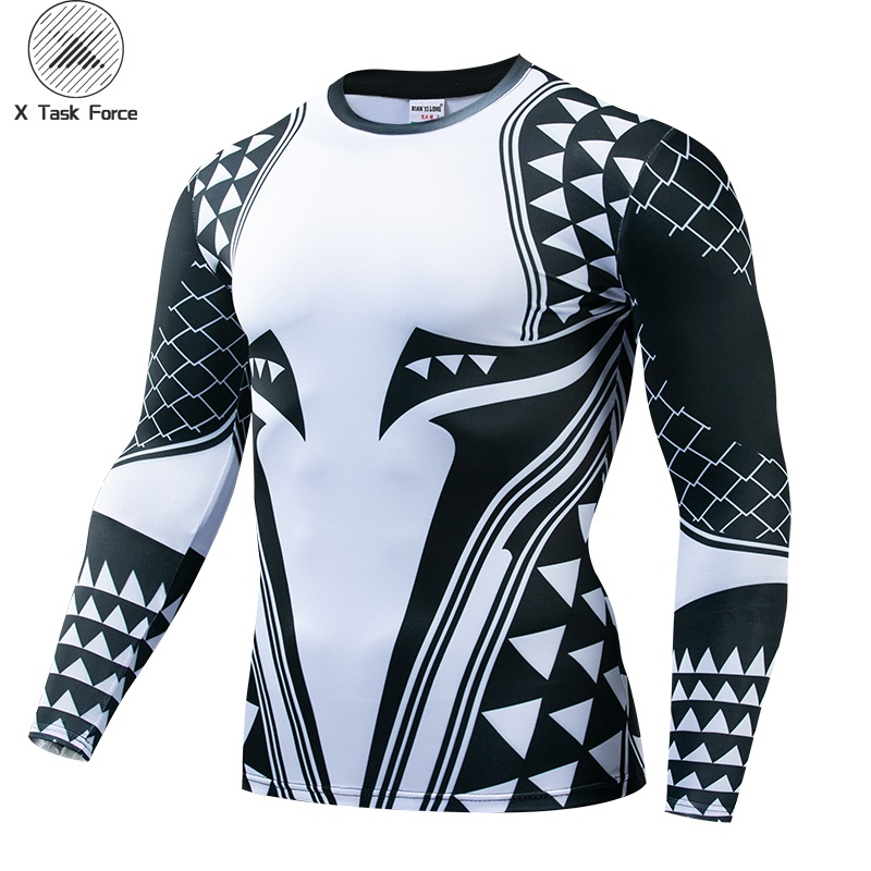 Aquaman Compression Shirt Man 3D Printed T Shirts Men 2019 Newest Comics Cosplay Costume Long Sleeve Tops For Male Fitness Cloth