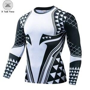 Image 1 - Aquaman camisa de compressão homem 3d impresso t camisas dos homens 2019 mais novo comics cosplay traje manga longa topos para o sexo masculino fitness pano