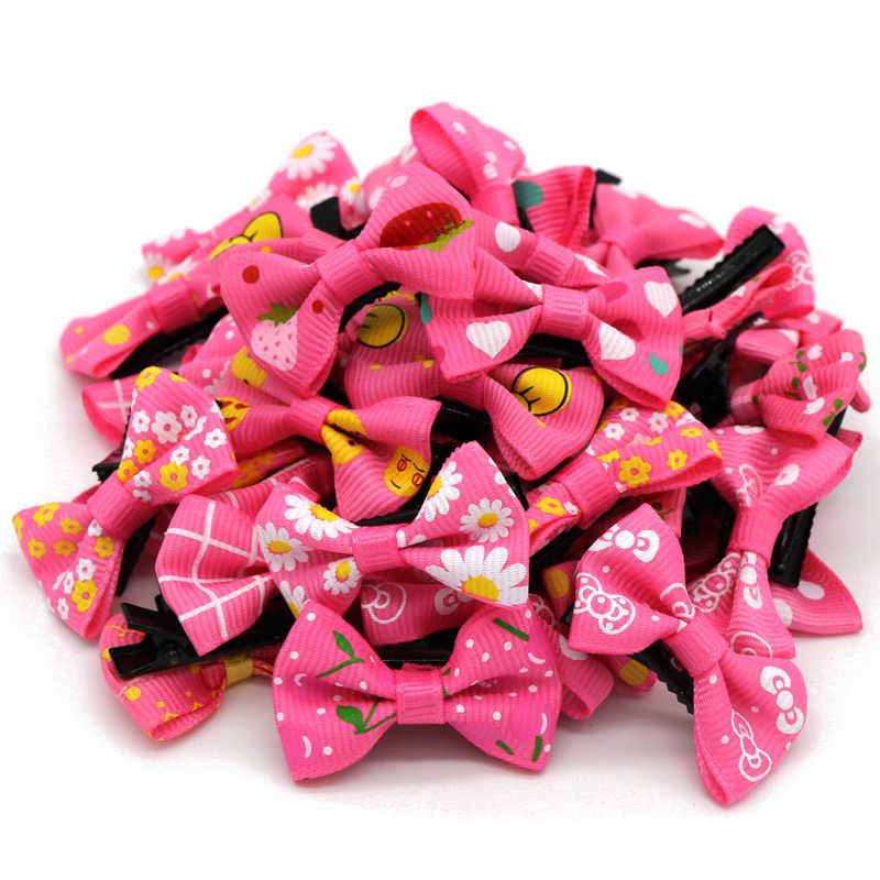 50 ピース/ロットマルチカラーパターン髪弓ヘアクリップ女の子のためのクリスマス誕生日プレゼント子供のアクセサリー