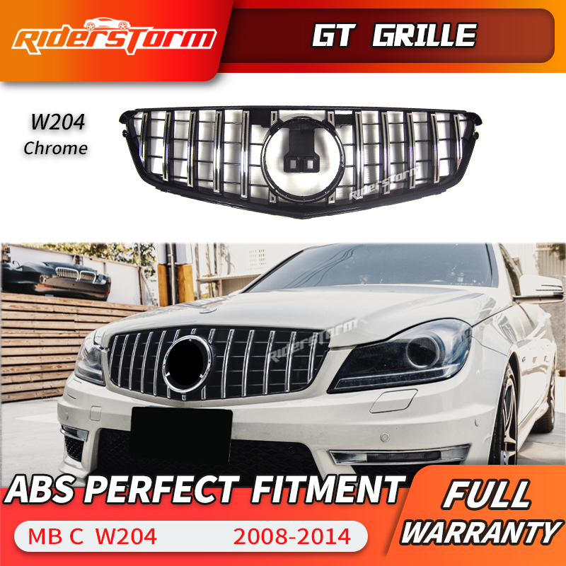 11.11 promotion For W204 AMG GT GTR Grille for MerceC Class W204 racing grille C180 C200 C250 C300 2008-2014 front grill matte gloss black car racing grille for mercedes w204 grill 2008 2014 c300 c180 amg emblems mesh radiator front bumper modify