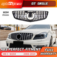 For W204 AMG GT GTR Grille for MerceC Class W204 racing grille C180 C200 C250 C300 2008 2014 front grill bumper front lip