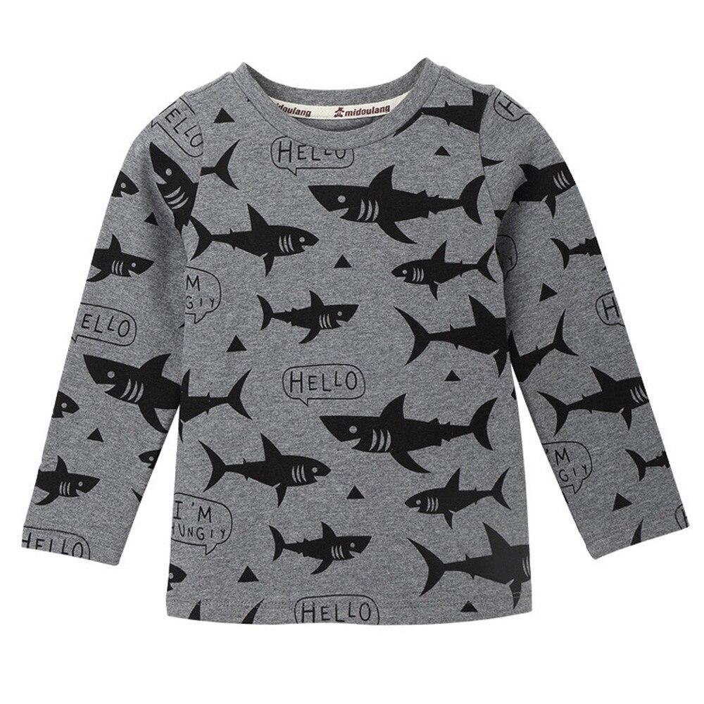 Дети новорожденных девочек мальчиков Акула печати Мягкие топы Симпатичные футболки одежда 2018 одежда для малышей дропшиппинг