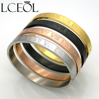 LCEOL Women Stainless Steel Rose Gold Color Couples Bracelet Carving Roman Numeral Lover Cuff Bracelet Bangle