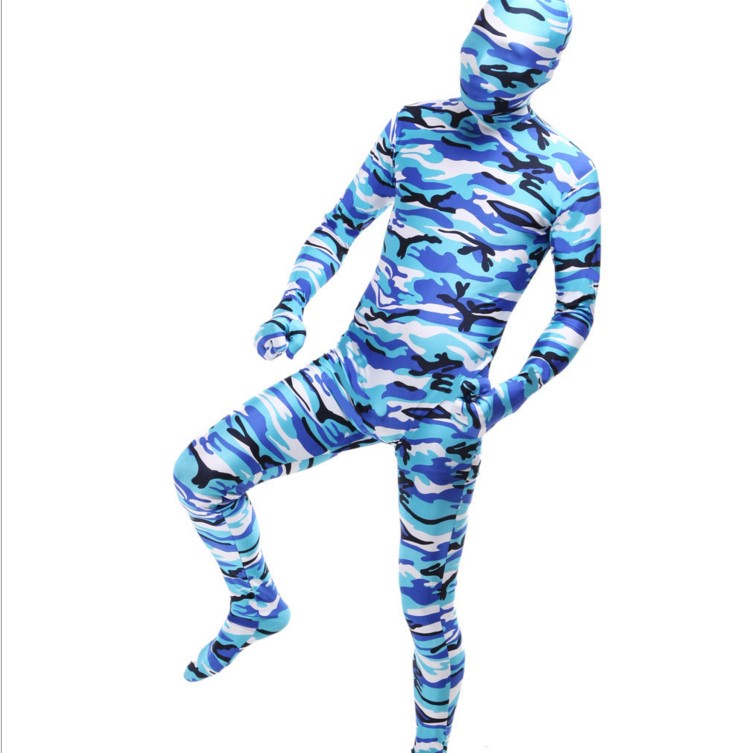 (PHC125) Fullbody Blue Camouflage Zentai Suit Halloween Party Tights High Elasticity Spandex Cosplay Costumes