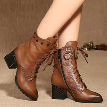 Size 34-42 Vintage Style Black Square High Heel Woman Genuine Leather Ankle Boots Women Shoes Ladies Motorcycle Boots