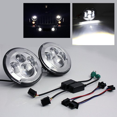 2pcs/set Round 7''inch LED Motorcycle Headlight H4 H13 High Low Beam 40W LED Driving Lamp for jeep Wrangler CJ JK TJ 2pcs 7 inch round led headlights angle eyes headlamp head light for jeep wrangler jk tj cj 8 scrambler high low beam