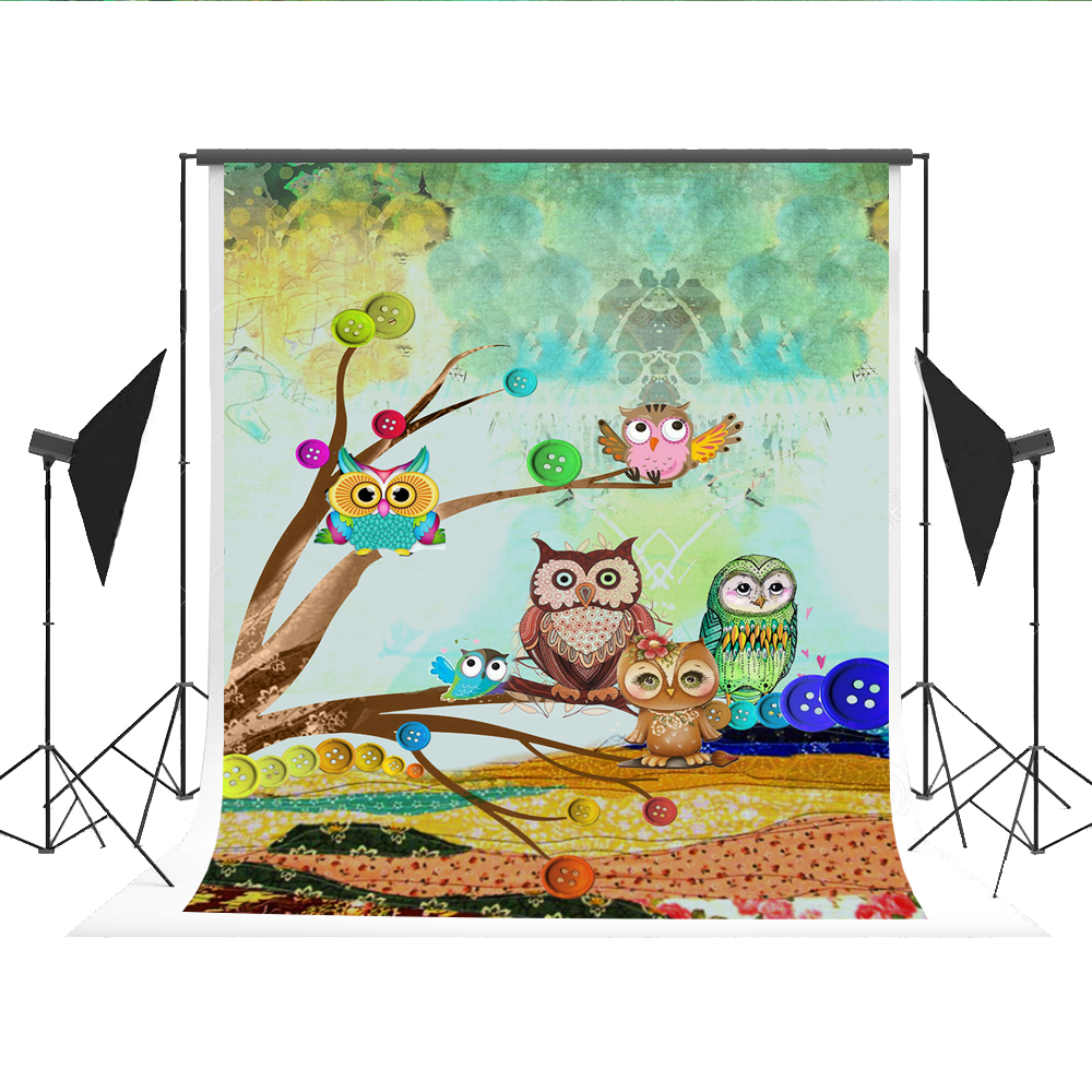 Cartoon Background Photography Owl Photo Booth Backdrops Spring Photocall for Kids Photography Fond Studio 5x7ft allenjoy backdrop spring background green grass light bokeh dots photocall kids baby for photo studio