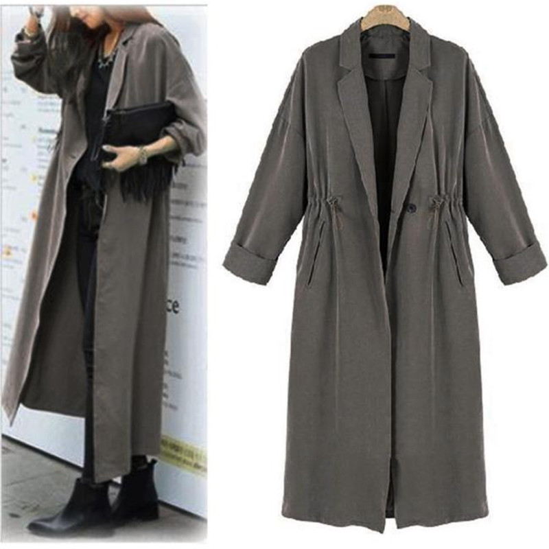 #2533 Women Lady long-sleeved drawn rope long Windbreaker Casual Cardigan Long Tops Outwear Coat D45