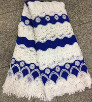 Free Shipping 5yards Pc 2017 New Design African Party Lace Fabric White And Royal Blue Guipure