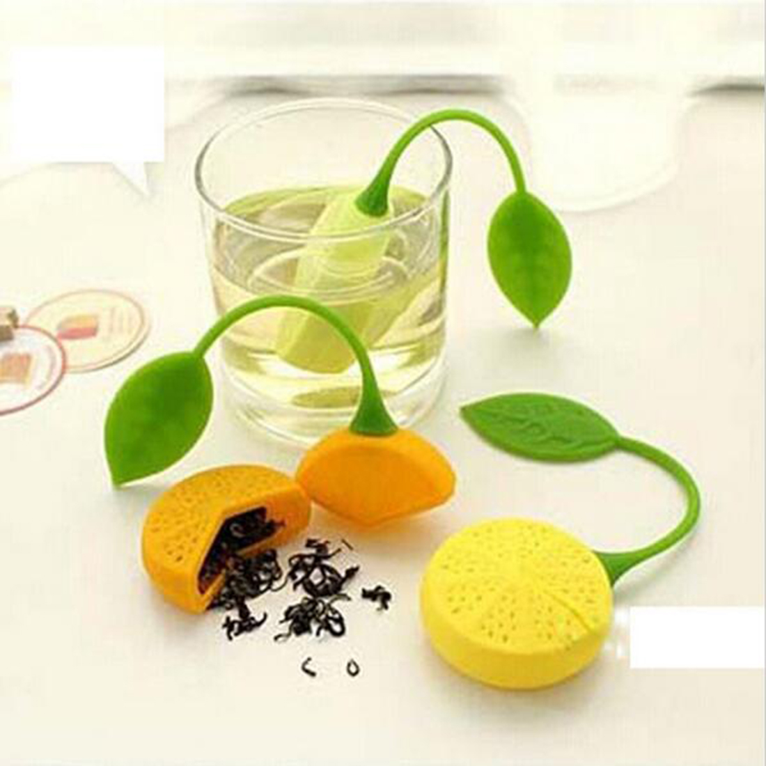 1Pc  Tea Strainer Silicone Strawberry Lemon Design Loose Tea Leaf Strainer Bag Herbal Spice Infuser Filter Tool Random Color