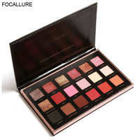 FOCALLURE Beauty 18 Colors Eyeshadow Palette Glitter Diamond Pigment Shimmer Eye Shadow Eyes Makeup Palette Blush