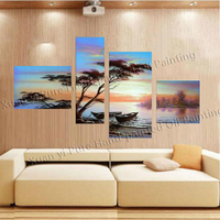 Handmade African Forest Home Decoration Modern Abstract Oil Painting Wall Art Boat Paintings On Canvas Tree Blue Sky Seascape