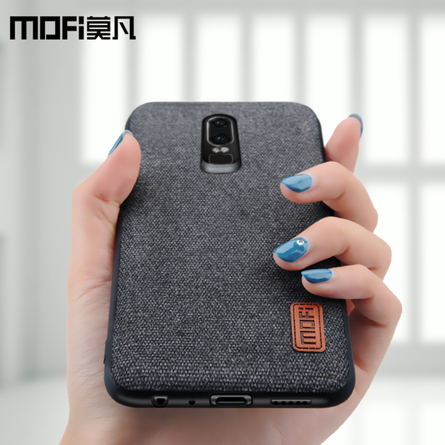 oneplus 6 case cover one plus 6 back cover silicone edge men business fabric shockproof case coque MOFi original 1+6 case 1