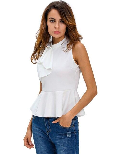 335e6a2d491 Summer Fashion Ruffle Peplum Top Women Asymmetric Ruffle Side Elegant  Ladies Top Turtleneck Sleeveless Back Zipper