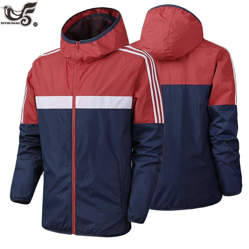 Брендовая весенне осенняя мужская модная верхняя одежда, ветровка для мужчин в полоску, тонкие куртки с капюшоном, повседневное спортивное пальто, одежда|Куртки| | АлиЭкспресс