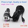 mini USB Car Charger for GPS / DVR Camera With 2 USB Port 5V 3A fit DC 12V 24V Car, Cable Length 3.5M ( 11.48ft )