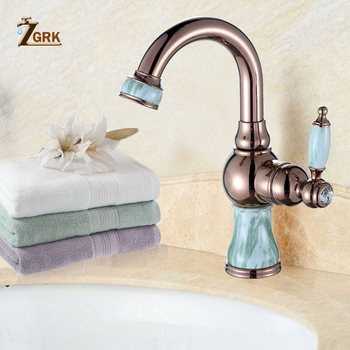 ZGRK Marble Bathroom Sink Faucet Hot And Cold Basin Jade Taps Full Copper Golden Lavatory Faucet Marble Stone Gold Basin Retro