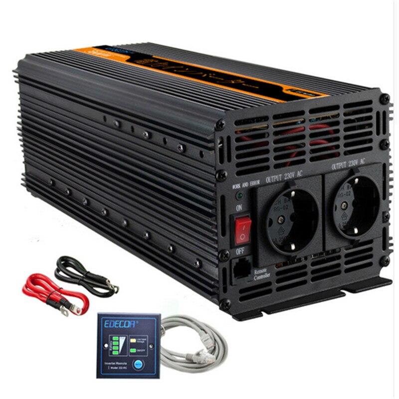 EDECOA inverter di potenza 3000 w/6000 watt DC 12 v AC 230 v onda sinusoidale modificata inverter off grid inverter con telecomando libera la nave