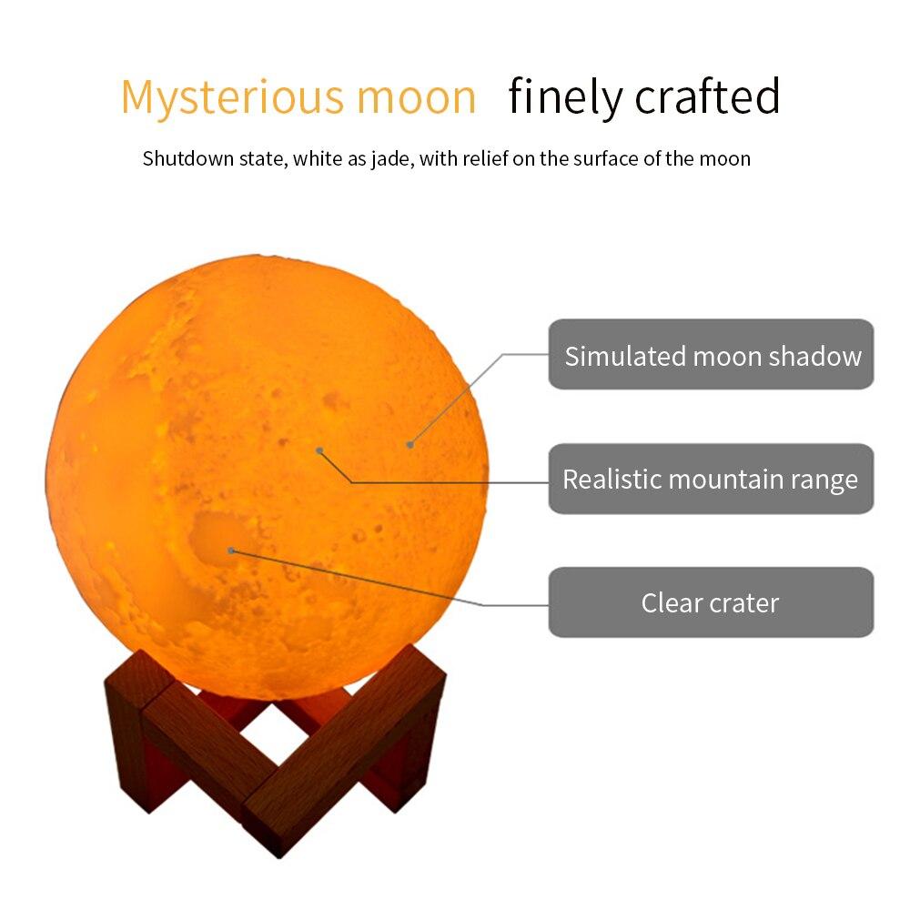 880ml Air Humidifier 3D Moon Lamp Light Diffuser Aroma Essential Oil USB Ultrasonic Humidificador Night Cool Mist Purifier