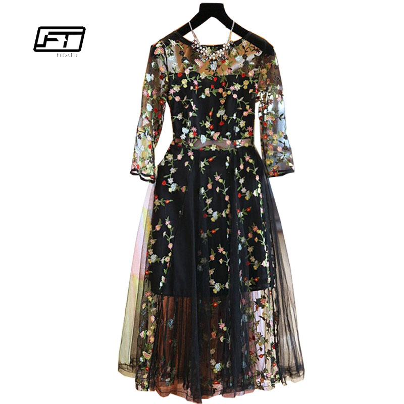 Fitaylor 2018 Été Plus La Taille Maille Broderie Sexy Robes Femmes Eleganr Occasionnel Soirée Partie Robe O Cou Robes Mujer
