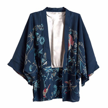 Harajuku Women Japanese Kimono Phoenix Printed 2017 Summer Vintage Bat Sleeve Loose Cardigan Sun Protection Blouse