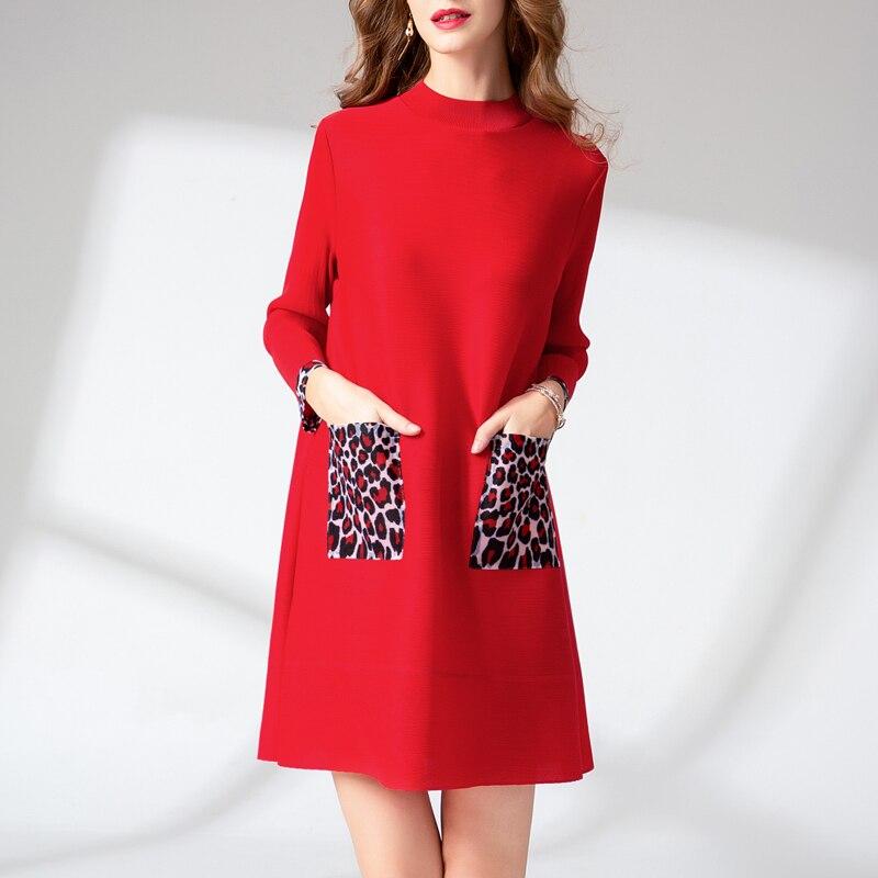 Changpleat 2019 Lente Nieuwe Losse Vrouwen DressMiyak Geplooide Mode Luipaard print Pocket Grote Maat Vrouw Mini Jurken Tij D9089-in Jurken van Dames Kleding op  Groep 2