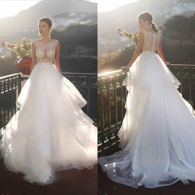 2019 Wedding Dresses Lace Appliques Sequin A Line Beach Bridal Gowns Sweep Train Country Boho Wedding Dress