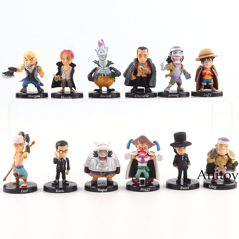 Anime One Piece Figure Shanks Luffy Lucci Crocodile Moria Buggy Enel Sabo Action Figure PVC Collectible Model Toy 12pcs/set