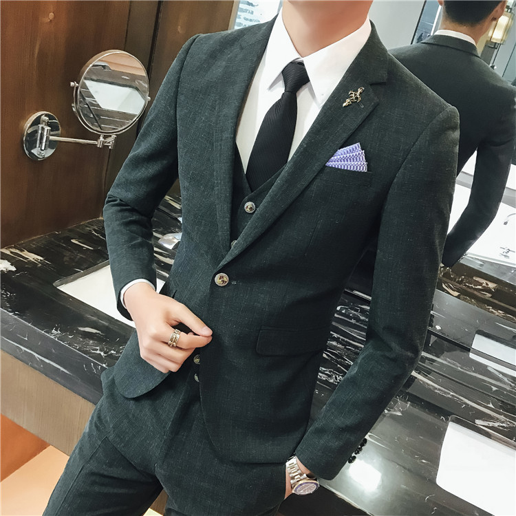 Spring and Summer Business Men's Fashion Trend Black Single Buckle Casual Self-cultivation Suit Banquet Work Boss Evening Dress