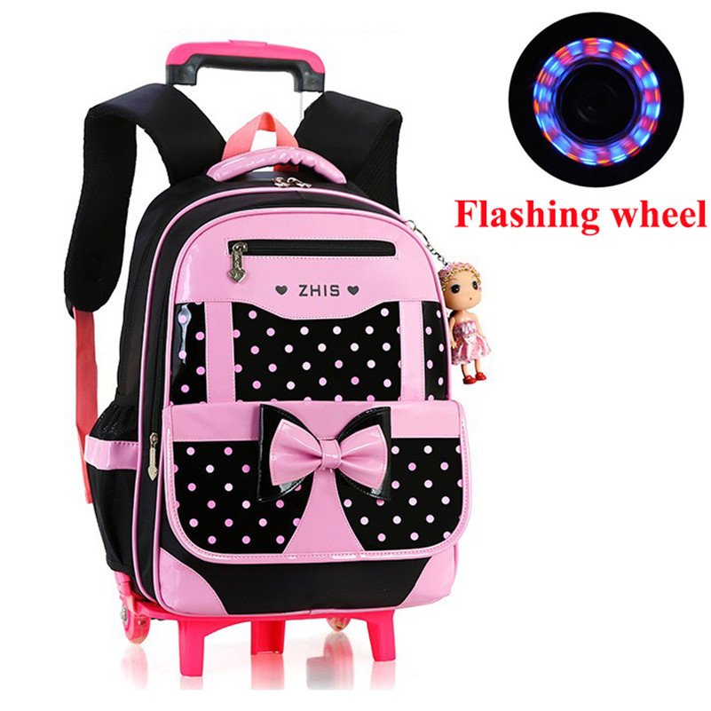 ФОТО Girl's Flashing Wheels School Bags Fashion Lovely Girls Backpacks Trolley Bags School Bags Nylon Wheeled Bags Satchels