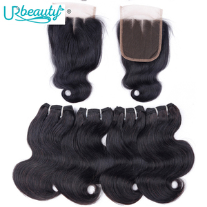 Image 1 - 50g/pc Peruvian body wave bundles with closure human hair bundles with closure UR Beauty Remy hair natural color can make a wig