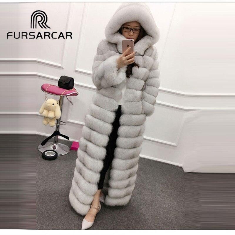 FURSARCAR Luxury 130cm Long Real Fox Fur Coat Female Fashion Elegant Genuine Leather Real Fur Coat With Hood Women Fur Coat