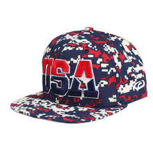 Wholesale custom your own design snapback cap for summer dress ,camo styles with 3d USA logo on front hat ,changable logo colors