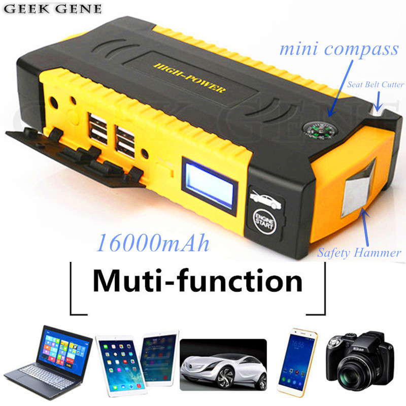 2018 Car Jump starter 12V high capacity 16000mAh Emergency power booster buster charger for car battery starting device auto high capacity car emergency starter jump 12v peak 600a mini portable emergency battery charger booster for petrol