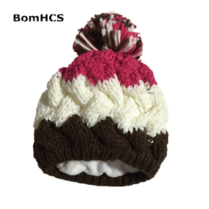 BomHCS 100% Handmade Knitted Winter Thickened Warm Women's Beanie Gloves Mittens Hat with Lining Windproof cute bear paw plush gloves winter warm thermal children knitted gloves full finger mittens cartoon gloves
