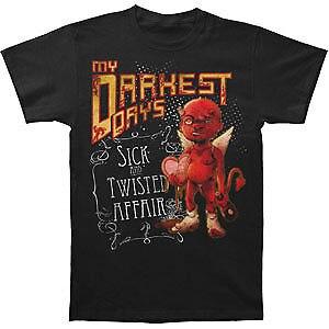 My Darkest Days MenS Sick & Twisted Affair T Shirt Black Rockabilia