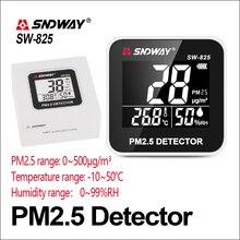 SNDWAY Газоанализаторы детектор газа PM 2,5 мониторинга качества воздуха PM2.5 детектор электрические SW-825 ЖК-дисплей Экран цифровой газовый детектор