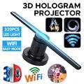 Высокотехнологичный Wifi 3D голограмма проектор вентилятор голографический плеер магазин вывески лампа 224 светодиодов с 16G TF Комплект 42 см рек...