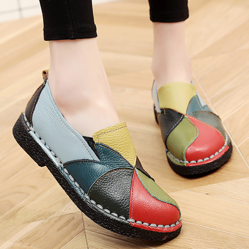 Designer Leather Shoes Women Flats Slip On Summer Loafers Moccasin Shoes Ladies Flat Mixed Colors Ballerina Zapatos Mujer 2018 women shoes summer flat female loafers zapatos mujer women casual flats woven shoes sneakers slip on colorful sneakers mujer ax4