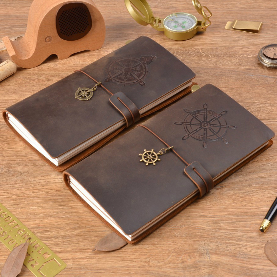 цена на Hot Sale 100% Genuine Leather Notebook Handmade Vintage Compass Plane Diary Journal Sketchbook Planner Buy 1 Get 11 Accessories